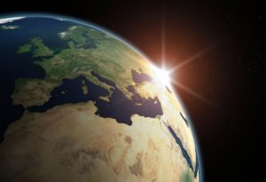 Beautiful Planet Earth. Sun rising over Europe. Textures and satellite images are taken from NASA Visible Earth Web site.