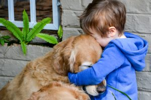 Little boy hugging and showing affection and love for his best friend, a cuddly golden retriever.